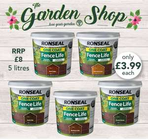 Ronseal One Coat Fence Life 5 Litre Only £3.99 in Poundstretcher