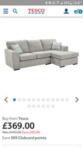 Tesco Boston Corner Chaise £369 / £394 delivered (plus more furniture offers in post) @ Tesco