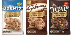 Galaxy, Bounty and M&M Cookies (180G) Half Price was £1.99 now only 99p @ Tesco