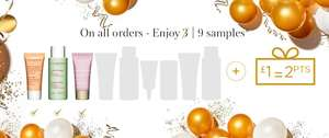 9 FREE  samples and double loyalty points on all orders @ Clarins