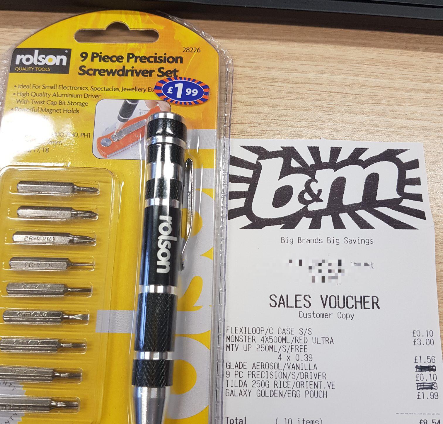 Rolson 9 Piece Precision Screwdriver Set 10 10p @ B&M
