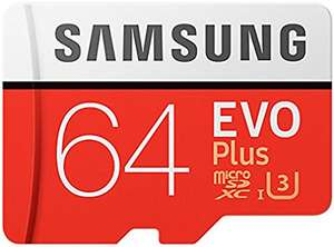 Samsung Evo Plus 64GB Micro SD SDXC UHS-I U3 Card with Adapter,100MB/s £14.49 @ euro-hut / Ebay