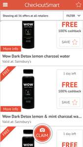 checkoutsmart free Wow Dark Detox 250ml, £1.90x3 @sainsburys.