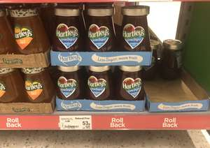 Hartley's 340 grams less sugar strawberries jam 53p & raspberry jam 59p was originally £1.59 @ Asda in Store