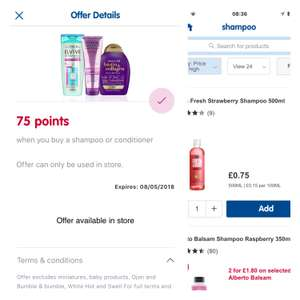 75 boots points for buying a 75p shampoo or conditioner