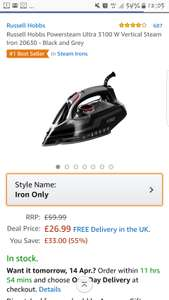 Russell Hobbs Powersteam Ultra 3100 W Vertical Steam Iron 20630 - Black and Grey £26.99 @ amazon