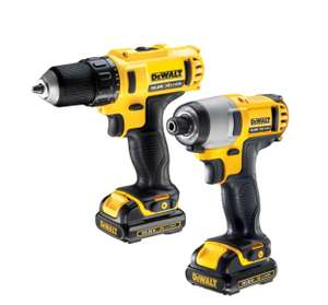 DEWALT XR 1.3AH LI-ION DRILL DRIVER & IMPACT DRIVER TWIN PACK 2 BATTERIES £125 @ B&Q