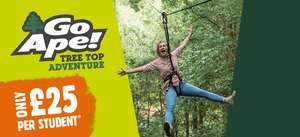 Go Ape £25 per student with NUS card
