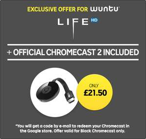 Google chromecast second generation + Movie on Rakuten (Wuntu by Three) £21.50