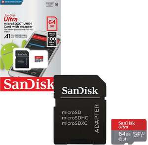 SanDisk Mobile Ultra Micro SD SDXC Memory Card UHS-1 A1 100MB/s with Full Size SD Card Adapter - 64GB