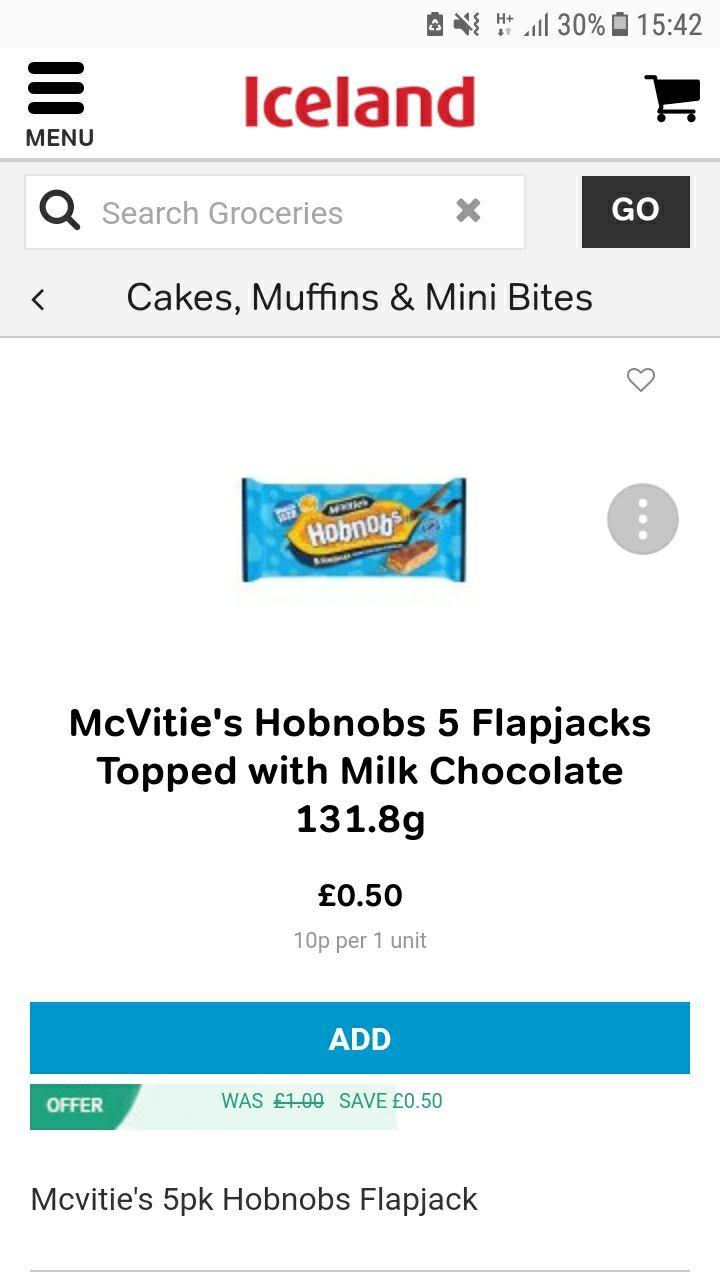 Hobnobs 5 flapjacks 50p Iceland
