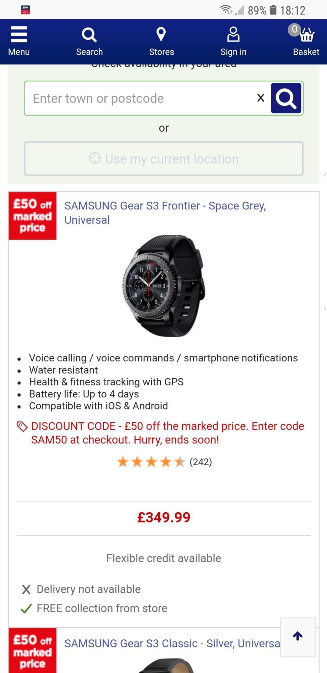 Samsung gear s3 £50 off £299.99 @ Currys