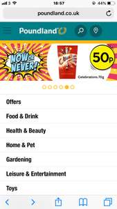 70g carton celebrations 50p at poundland - national