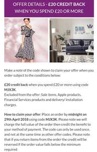 £20 CREDIT BACK WHEN YOU SPEND £20 Using Code MJX3K at Littlewoods
