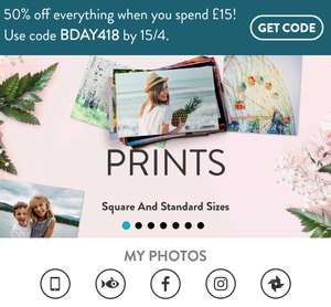 50% off everything when you spend £15 or more @snapfish using code BDAY418