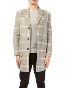 Burton Grey Wool Checked Coat 80% off - £18 (free C&C)