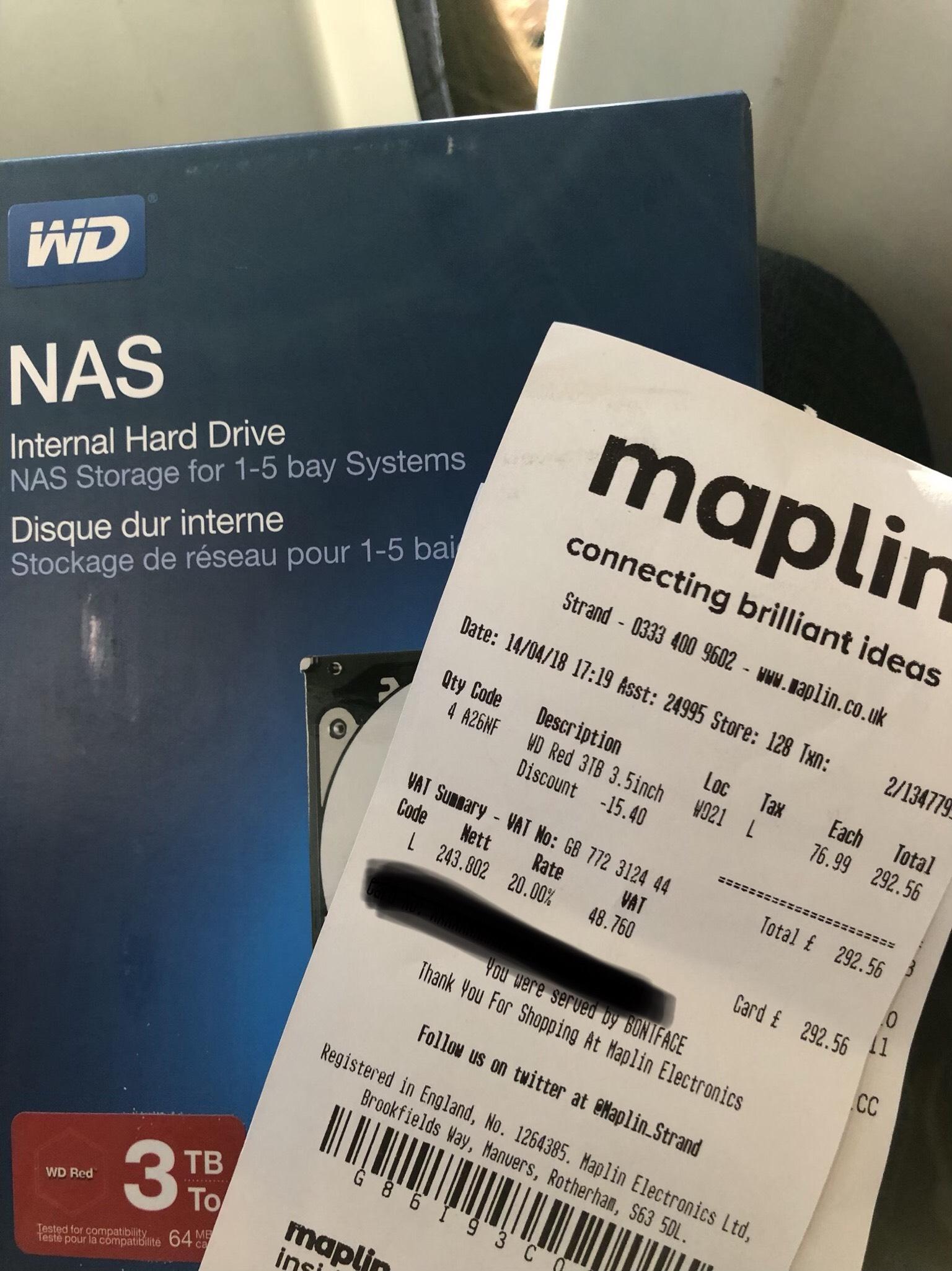WD Red 3TB Hard Drive £73 instore @ Maplin