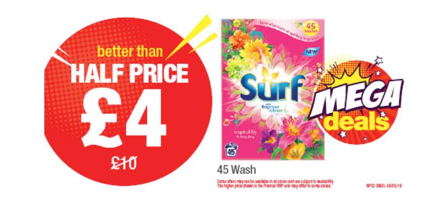 Surf Half Price £4 45 Wash premier stores