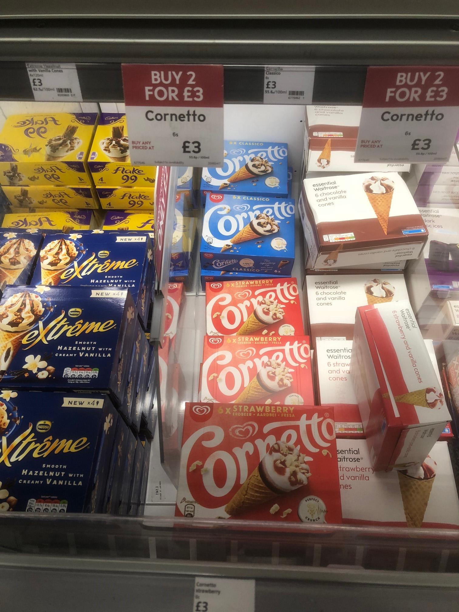 2 x 6's Cornetto Classico or Strawberry for £3 (25p Per Ice Cream) instore @ Waitrose