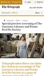 Free Cinema Tickets  -  The Guernsey Literary & Potato Peel Pie Society ( Tuesday 17 April 2018) for Daily Telegraph subscribers Free 30 days subscription