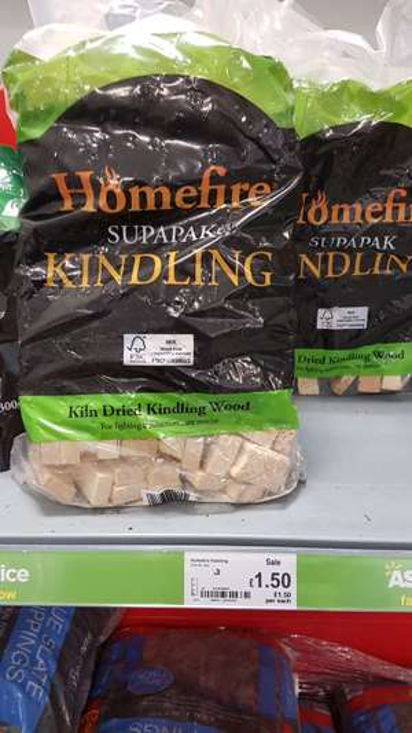 Dried kindling wood - £1.50 instore @ asda - half price!