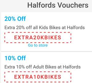 Halfords Extra 20% off kids bikes!10% off adults
