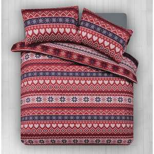 Wilko Duvet Set Double Scandi Print Red and Blue 0441308 - 1p instore