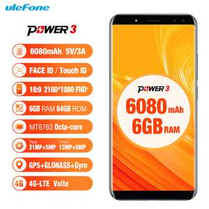 Ulefone Power 3 6.0 Inch 18:9 Full Screen 6080mAh Octa Core 6GB 64GB Face ID 21MP Four Cameras Android 7.1 @ Ulefone Global Store AliExpress