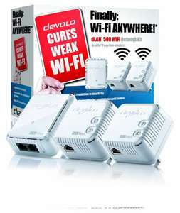 Best price for devolo dLAN 500 Wi-Fi Powerline Network Kit (triple pack) £69.97 @ Amazon
