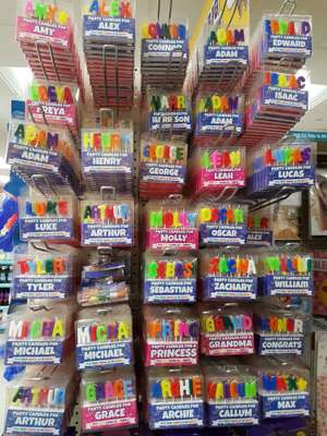 Name birthday candles £1 at Poundland