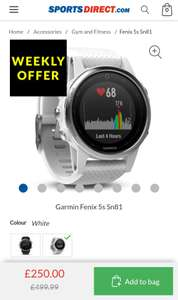 Garmin Fenix 5s £250 @ Sports Direct (+ £4.99 del or C&C)