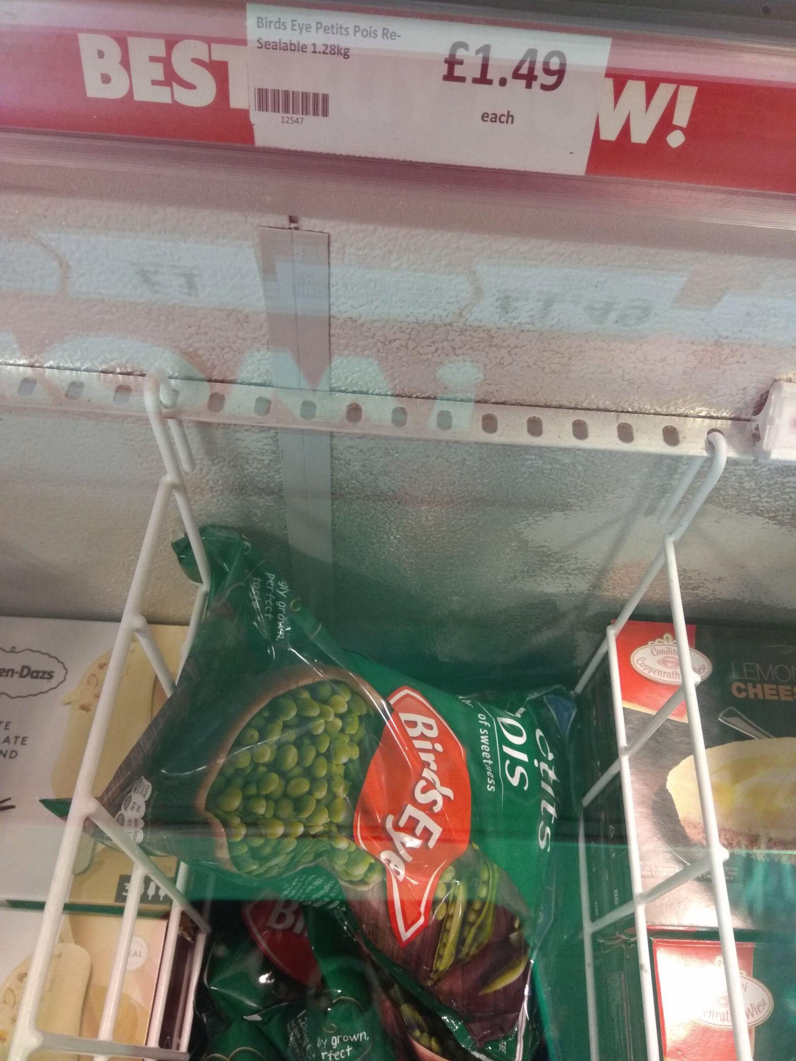 Birds Eye Petits Pois 1.28kg resealable pack  £1.49 @ Heron foods