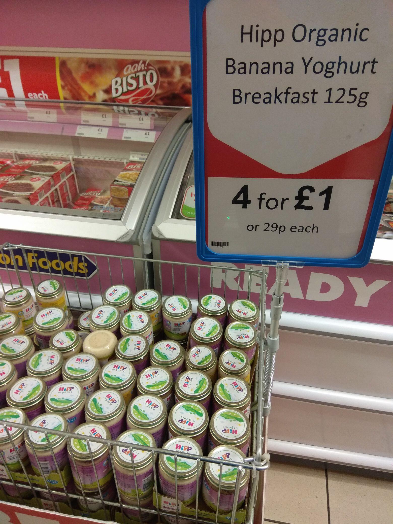 4 x Hipp Organic banana yoghurt breakfast 125g - £1 @ Heron foods