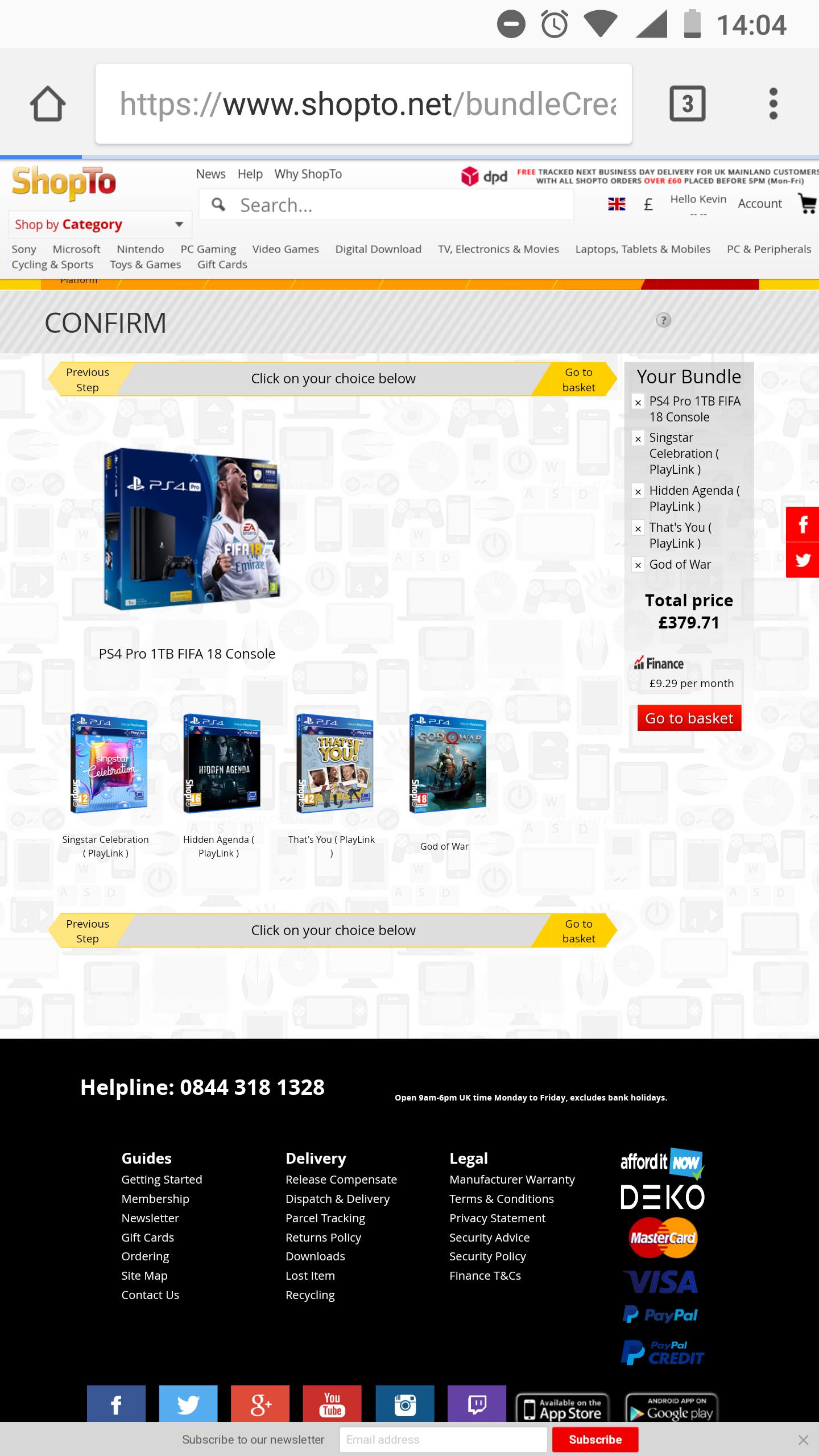 PS4 pro God of War & FIFA18 & 3Games £379.71 @ Shopto
