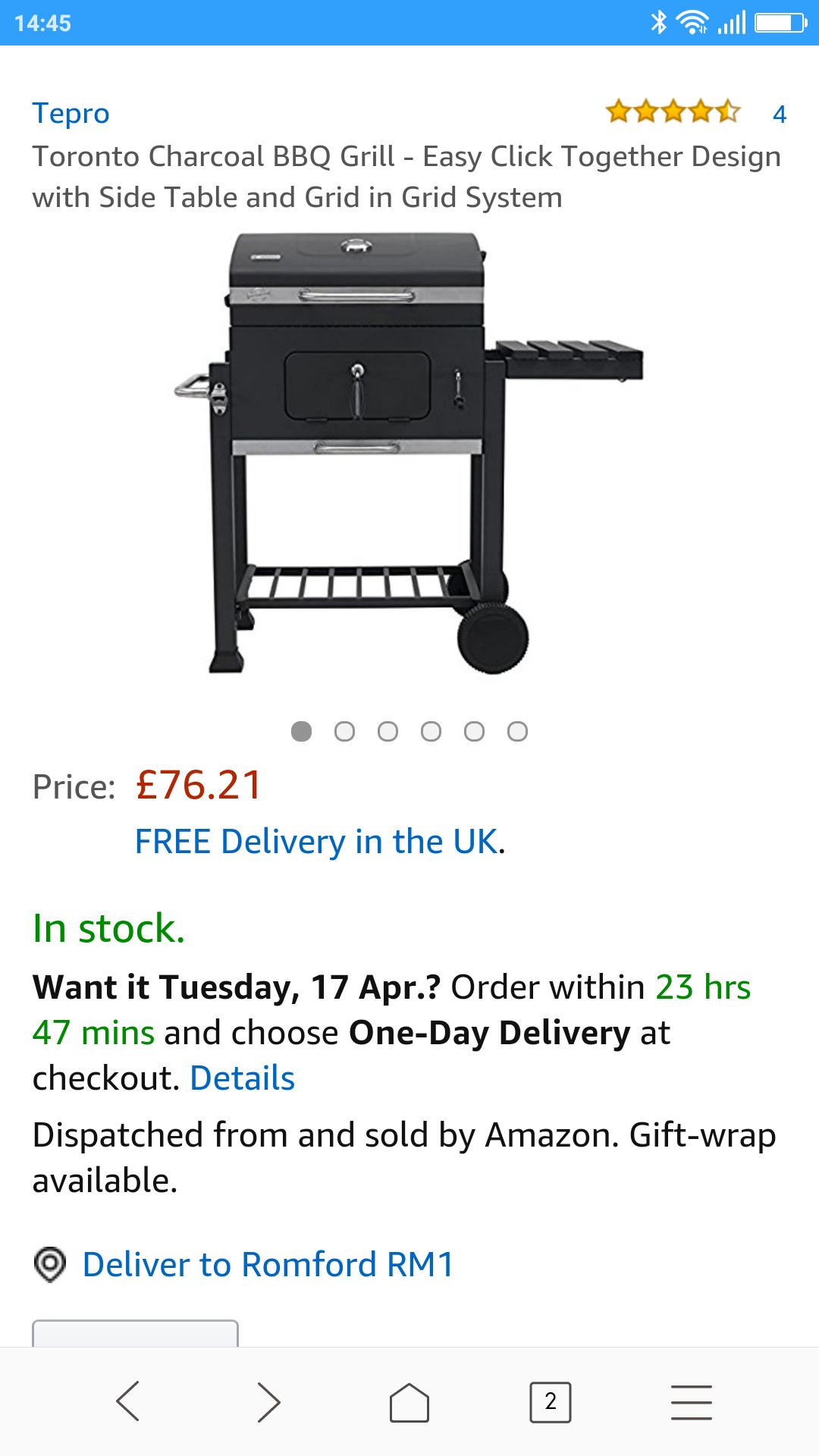 Tepro Toronto charcoal BBQ grill £75.62 @ Amazon