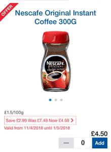 Nescafe Original 300 gm £4.50 @ Tesco
