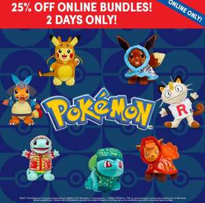 Flash Sale 25% off Pokemon bundles at build a bear - online only