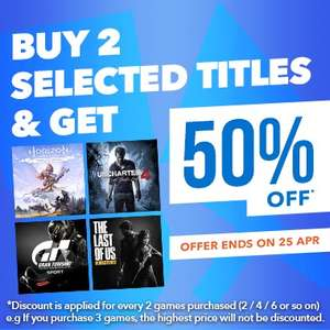 Buy 2 selected titles and get 50% off at PlayStation PSN Store Indonesia *Example - Horizon Zero Dawn and Uncharted 4 for £25.80