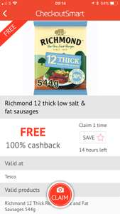 FREE : Richmond Thick Reduced Salt And Fat Sausages (£2.50) @ Tesco and CheckOutSmart