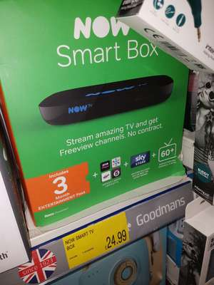 Now tv smart box with 3 months entertainment pass - £24.99 instore @ B&M