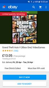 Gta 5 xbox one pre owned £13.05 @ musicmagpie ebay