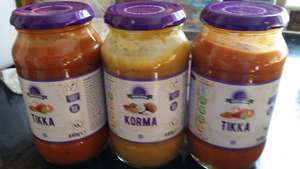 Korma and Tikka cooking sauces 440g at 3 for £1 in Heron Foods