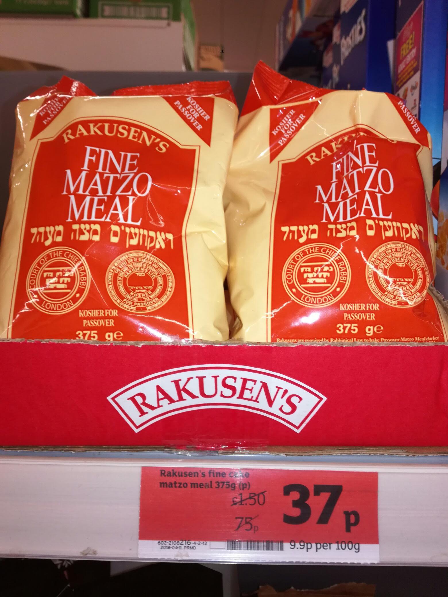 RACKUSEN'S Fine Matzo Meal  375g     0.37p instore Sainsbury's