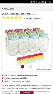 Wilko drinking jars 12 pack - £2 instore only