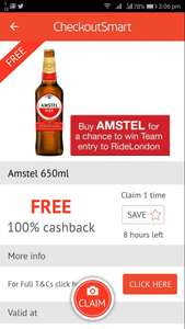 FREE bottle of AMSTEL @ CheckoutSmart