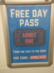 The gym free day pass from 16th to 22nd april
