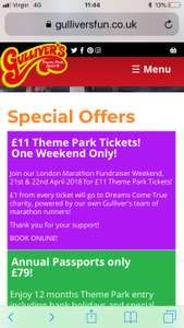THEME PARK TICKETS THIS WEEKEND ONLY £11 @ Gullivers World