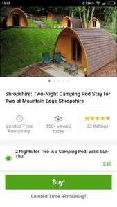 Two Nights in Shropshire Camping Pods £41.65 @ Groupon