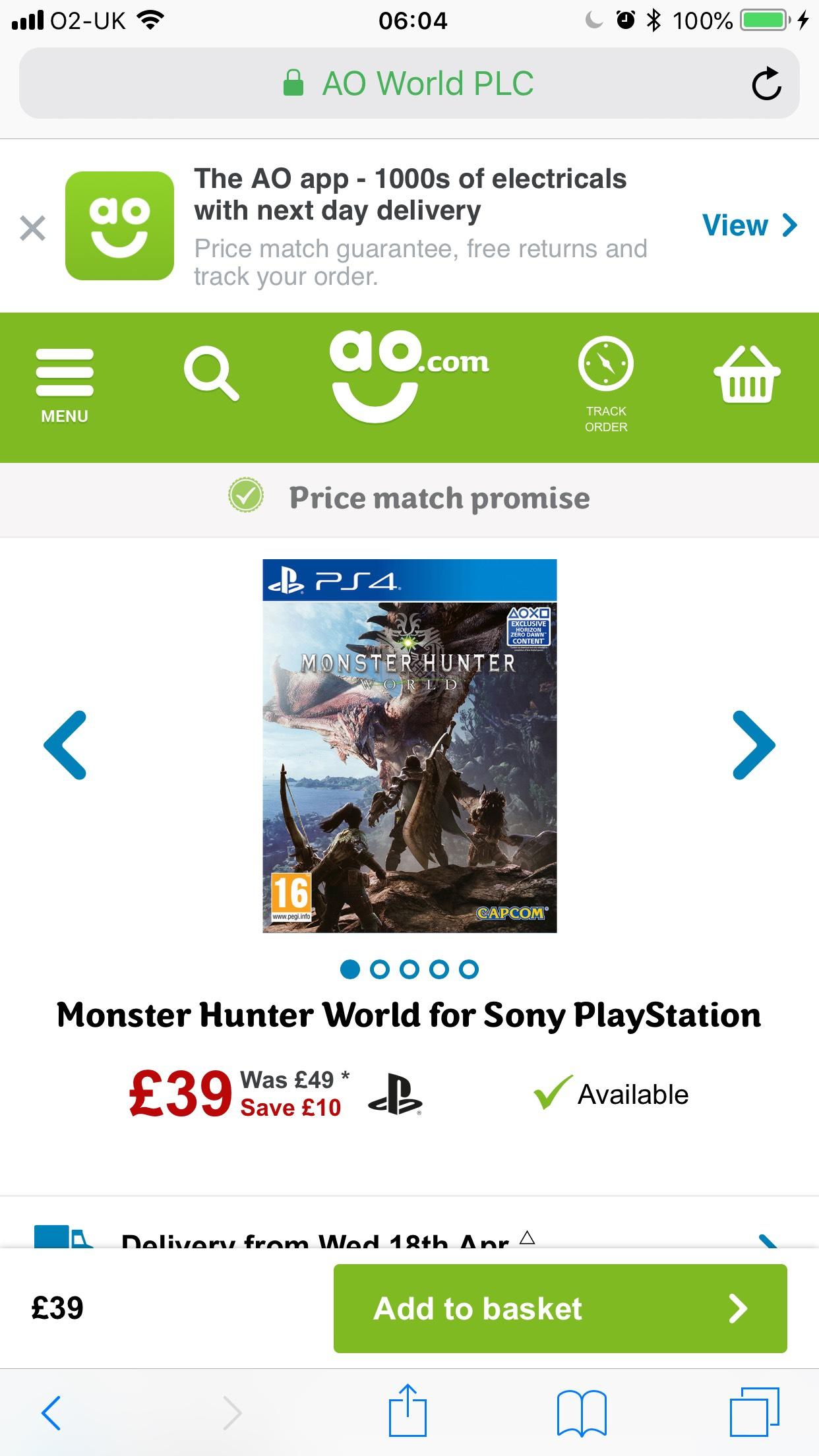 Monster Hunter World for Sony PlayStation £39 @ AO