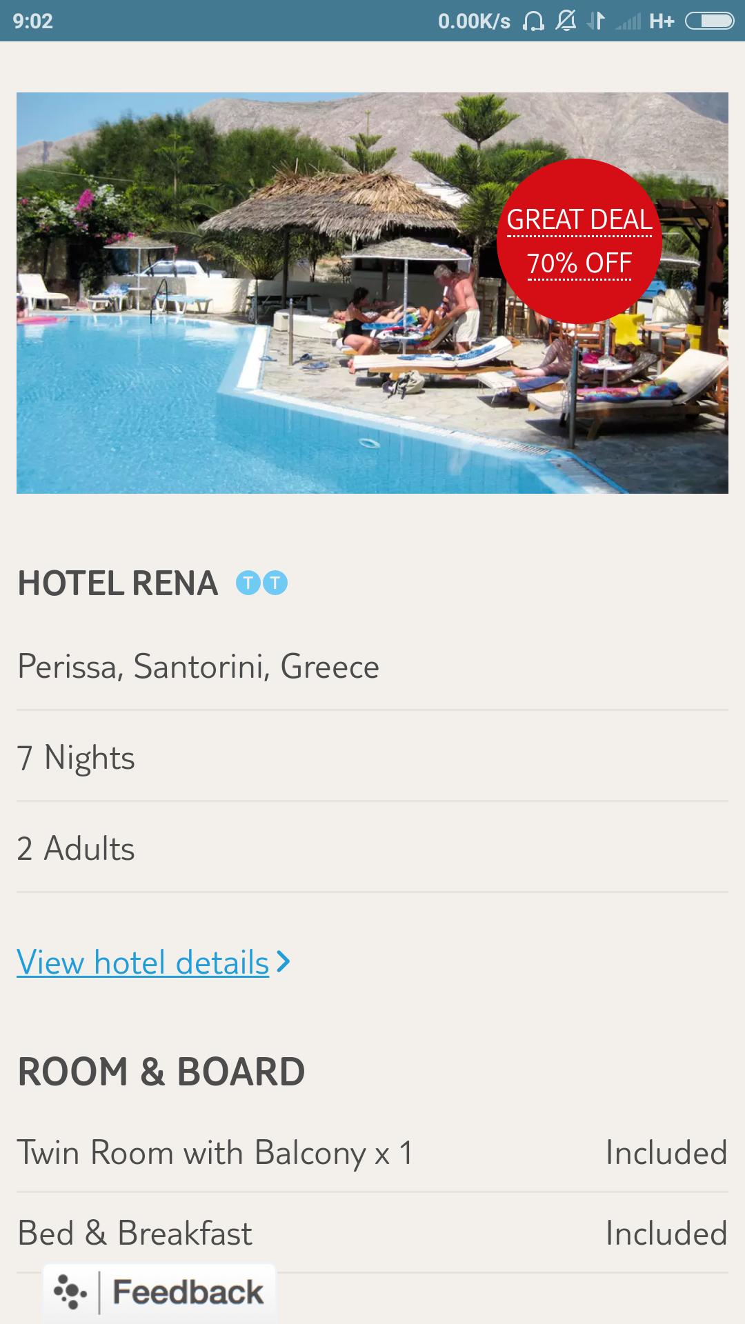 From London: 1 Week in Santorini Inc Flights, Luggage, Transfers & Accommodation on B&B basis - 1 May £134.10pp @ Tui